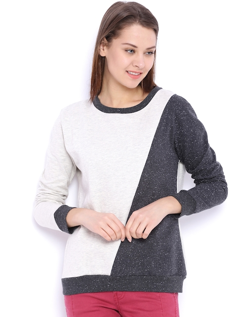 Campus Sutra Off-White & Charcoal Grey Colourblocked Hooded Sweatshirt