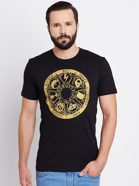 Harry Potter Men Black Printed Round Neck T-shirt