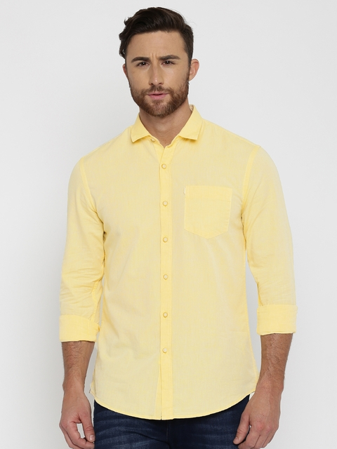 Allen Solly Men Yellow Regular Fit Solid Casual Shirt