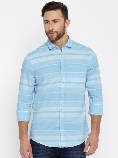 Allen Solly Men Blue Regular Fit Striped Casual Shirt