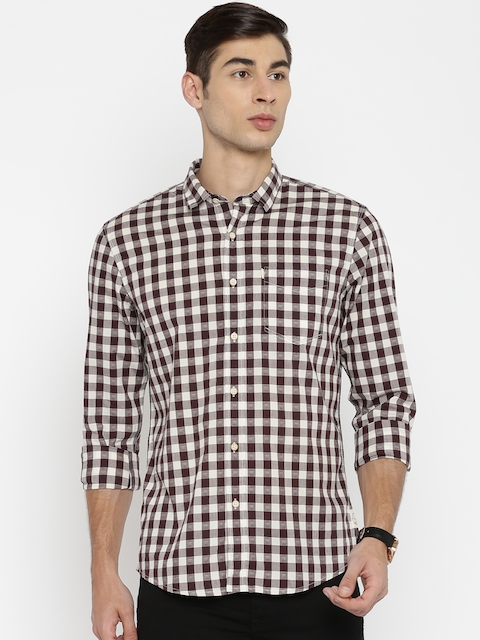 Allen Solly Brown & Cream-Coloured Checked Custom Fit Casual Shirt