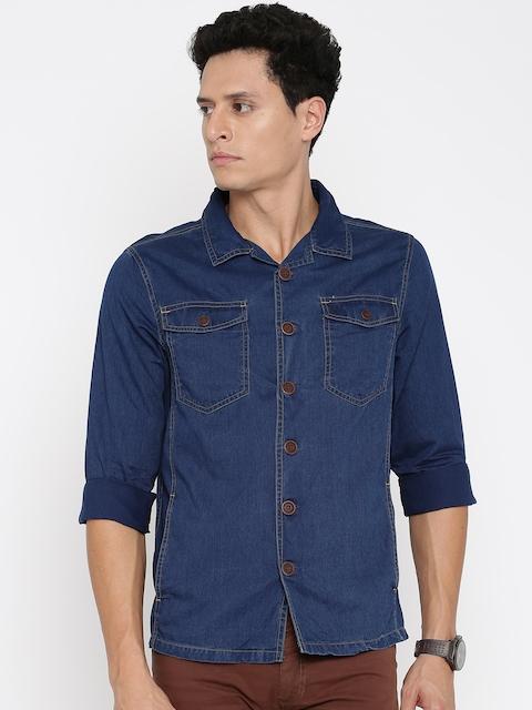 Allen Solly Men Blue Solid Casual Shirt