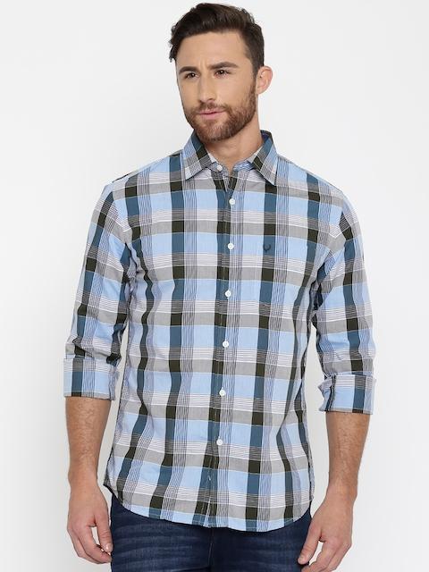 Allen Solly Men Blue Checked Casual Shirt