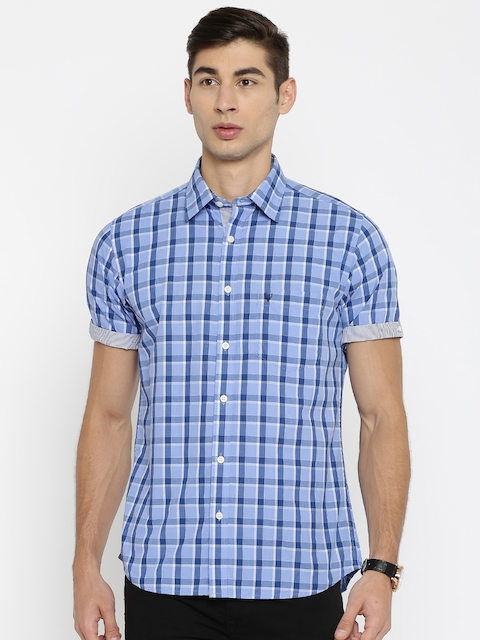 Allen Solly Men Blue Sport Fit Checked Casual Shirt