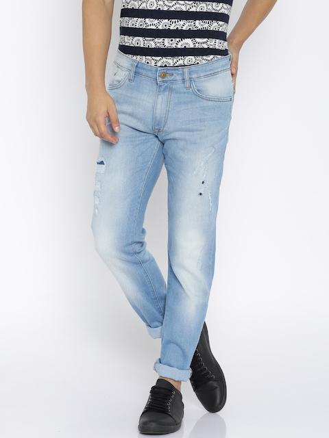 Allen Solly Men Blue Super Skinny Fit Mid Rise Mildly Distressed Jeans