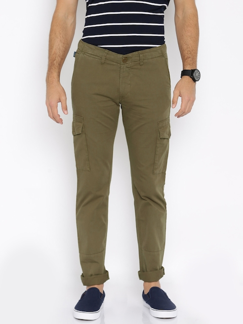 Allen Solly Men Khaki Solid Regular Fit Cargos
