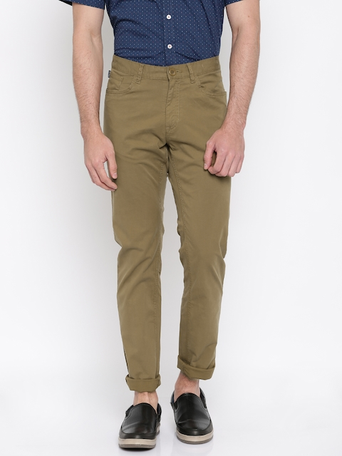 Allen Solly Men Khaki Solid Trenim Fit Flat-Front Casual Trousers
