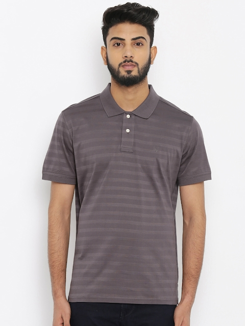 Allen Solly Men Purple Self-design Polo Collar T-Shirt