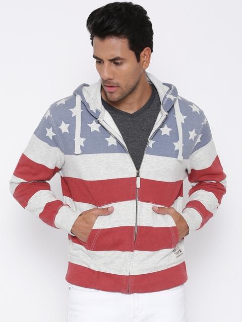 U.S. Polo Assn. Off-White & Blue Striped Hooded Sweatshirt
