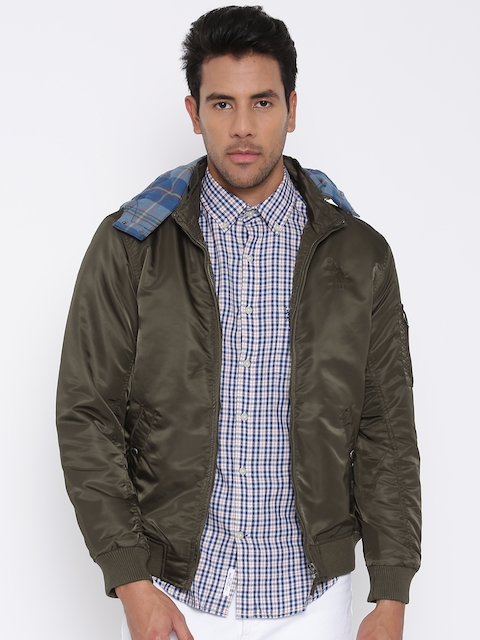 U.S. Polo Assn. Olive Brown Bomber Jacket with Detachable Hood