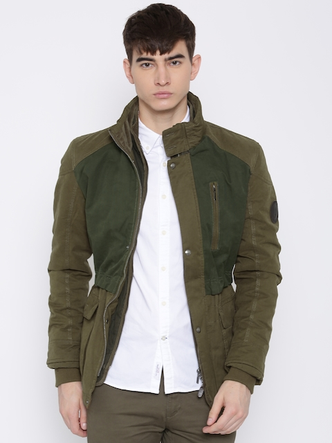 U.S. Polo Assn. Olive Green Panelled Padded Jacket