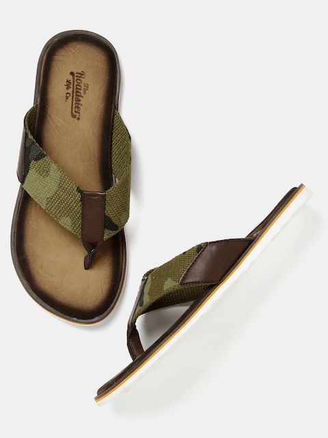 Roadster - - Roadster Men Olive Green Camouflage Print Sandals
