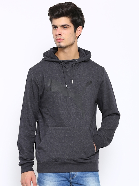 Puma Men Charcoal Grey ESS Big Cat FL Hooded Sweatshirt