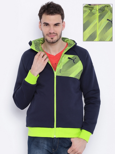 PUMA Navy & Green Printed Reversible Hooded Jacket