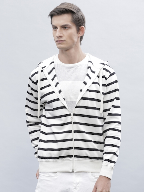 ether Black & Off-White Striped Hooded Sweatshirt