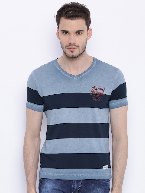 Flying Machine Men Blue Striped T-shirt