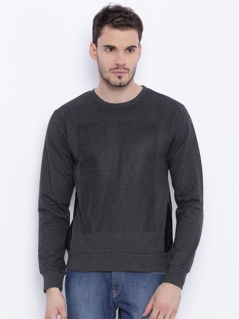 Flying Machine Charcoal Grey Printed Sweatshirt