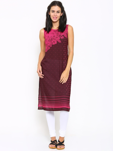 Vishudh Women Pink Printed Straight Kurta  available at myntra for Rs.339