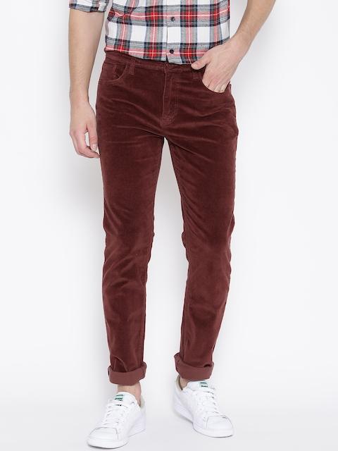 American Swan Men Maroon Slim Casual Trousers