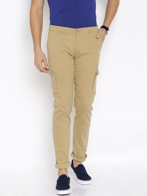 American Swan Men Beige Slim Fit Cargos
