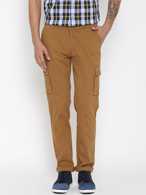 American Swan Men Brown Slim Fit Cargo Trousers