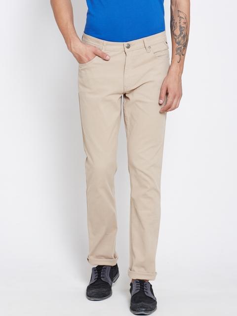 American Swan Men Beige Solid Slim Fit Flat-Front Trousers