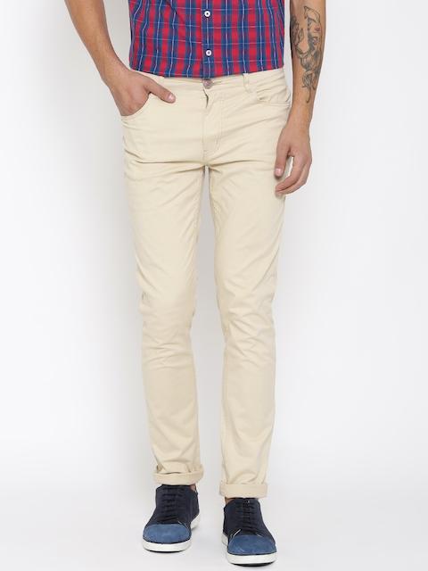 American Swan Men Beige Slim Fit Flat Front Trousers