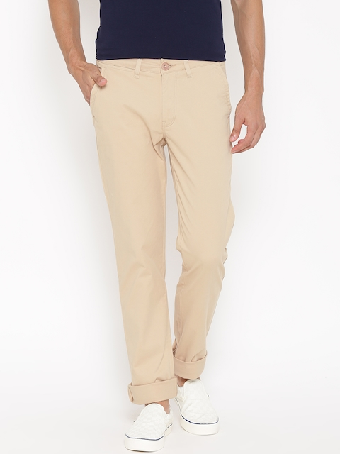 American Swan Men Beige Solid Slim Fit Flat-Front Trousers