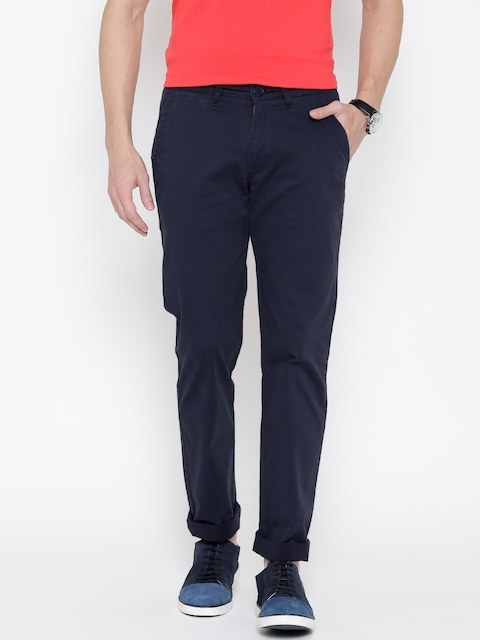 American Swan Men Navy Solid Slim Fit Flat-Front Trousers