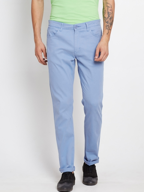 American Swan Men Blue Solid Slim Fit Chino Trousers