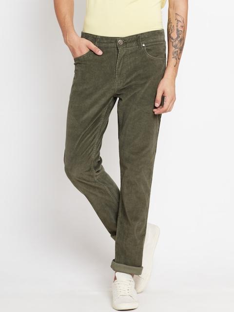 American Swan Men Olive Green Slim Fit Corduroy Trousers