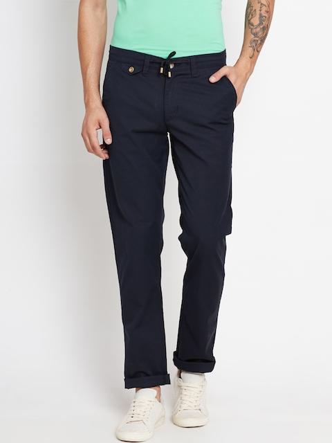 American Swan Men Black Slim Casual Trousers