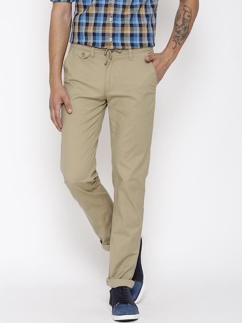 American Swan Men Khaki Slim Fit Flat-Front Trousers