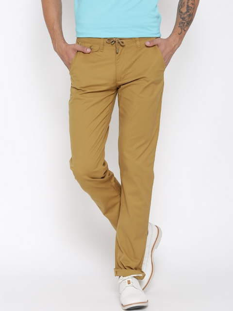 American Swan Men Mustard Brown Slim Fit Flat Front Trousers
