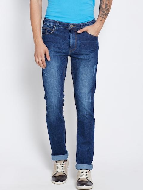 American Swan Men Blue Slim Fit Mid-Rise Low Distress Jeans