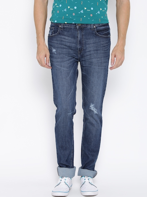 American Swan Men Blue Slim Low Distressed Jeans
