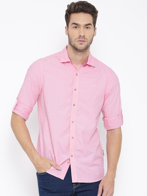 American Swan Men Pink Smart Fit Solid Casual Shirt