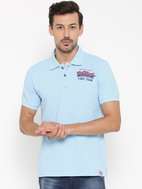 American Swan Men Blue Solid Polo Collar T-shirt