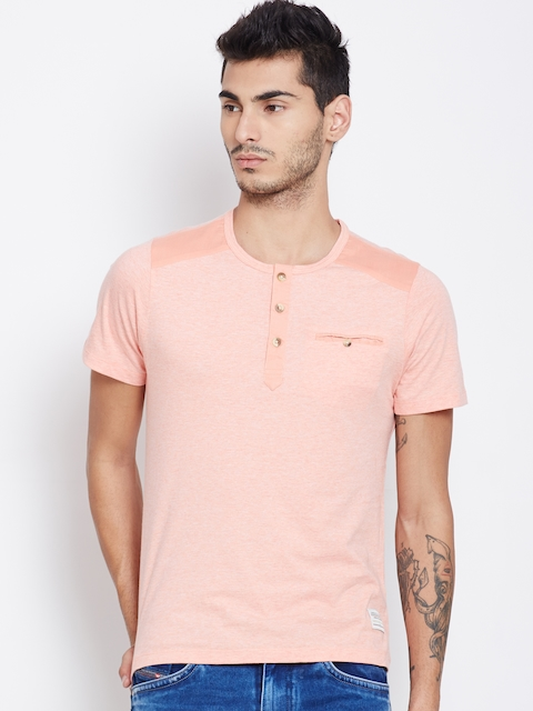 American Swan Men Peach-Coloured Solid Henley T-shirt