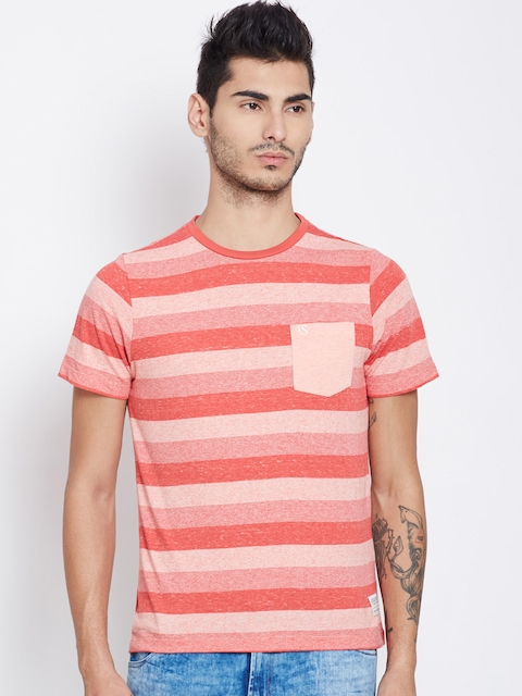 American Swan Men Red & Pink Striped Round Neck T-shirt