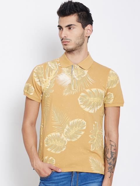 American Swan Men Mustard Yellow Printed Polo T-shirt