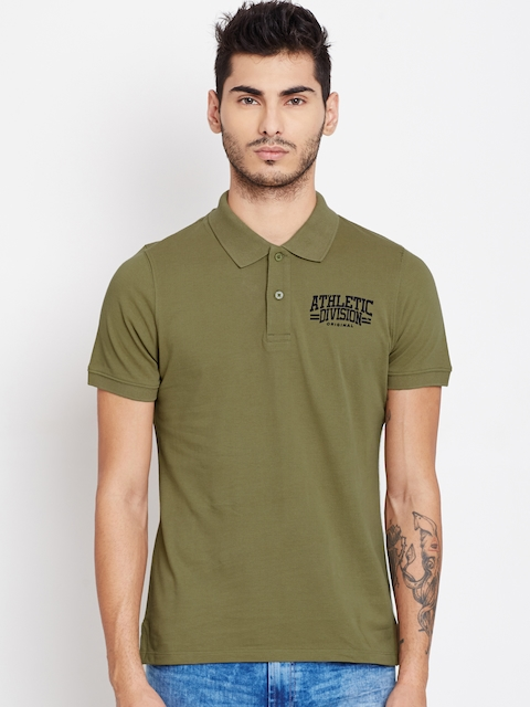 American Swan Men Olive Green Polo T-shirt