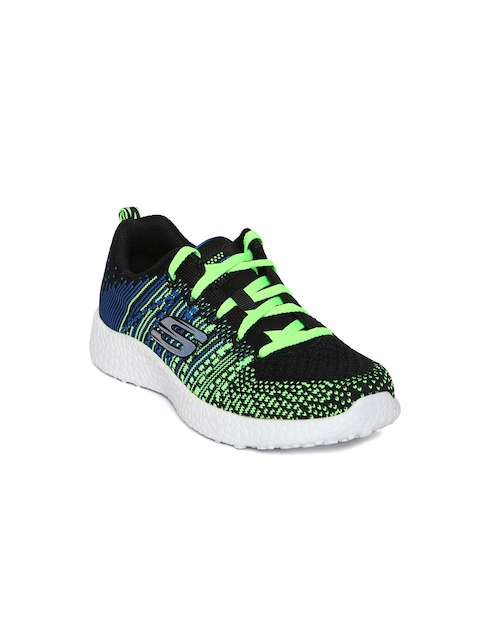 Skechers Boys Navy Blue & Fluorescent Green Woven Shoes