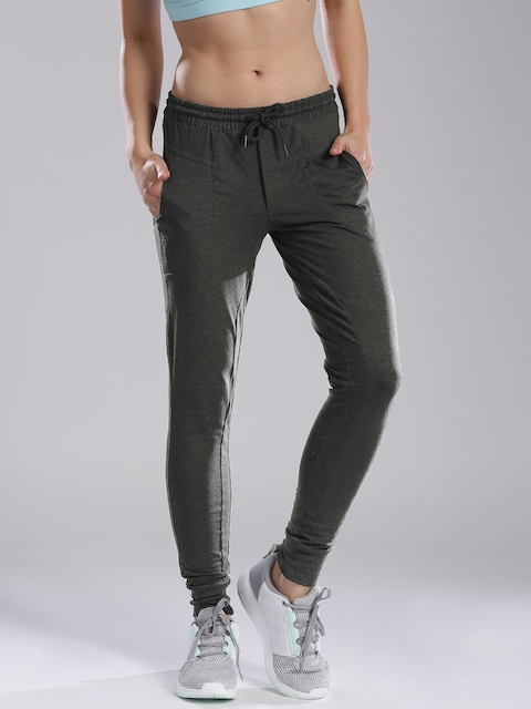 HRX by Hrithik Roshan Women Charcoal Grey Solid Regular Fit Joggers