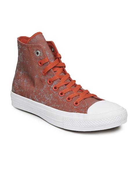 Converse Men Red Printed High-Top Sneakers