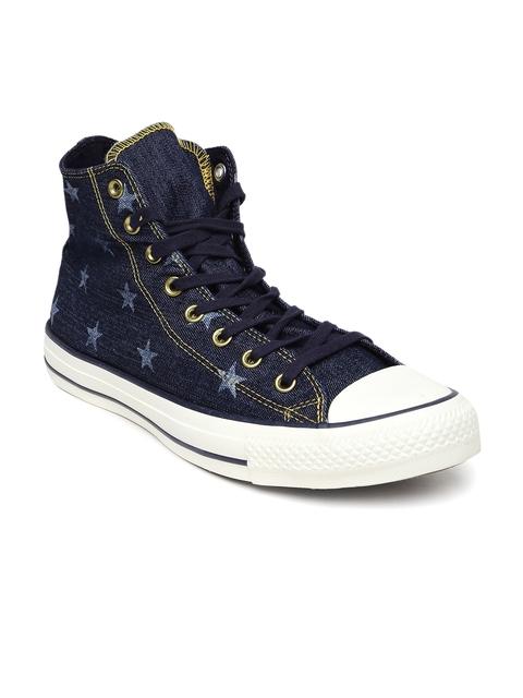 Converse Men Blue Printed High-Tops Sneakers