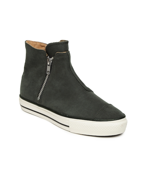 Converse Women Charcoal Solid Mid-Top Sneakers