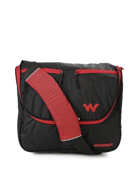 Wiki by Wildcraft Men Black Textured Messenger Bag