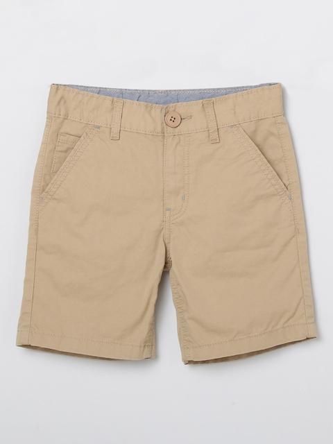 max Boys Beige Mid-Rise Regular Shorts