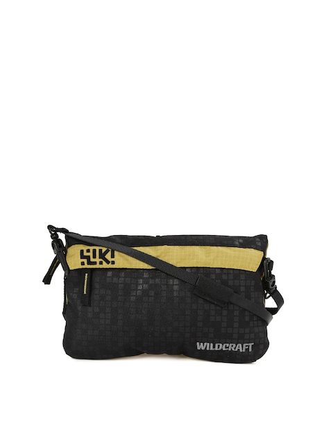 Wiki by Wildcraft Men Black & Mustard Yellow Messenger Bag  available at myntra for Rs.486